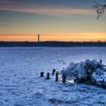 Eis und feuriger Himmel